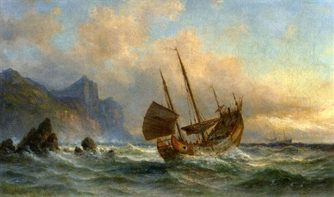 the chinese junk quotpekingquot off a coast in chinese waters by fritz siegfried george melbye