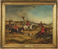 sporting scene of a fox hunt by samuel henry alken