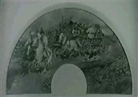 ungarischer pferdewagen mit musikanten im galopp by julius holzmueller