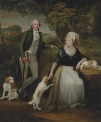 double portrait of sir andrew corbet corbet, bt., of stoke on trent (1752-1823), and his wife hestor, full-length, with their spaniels bow by robert fagan