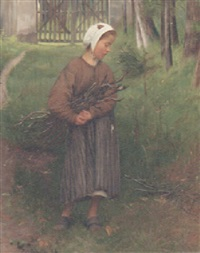 a young child gathering sticks by rodolfo amoedo