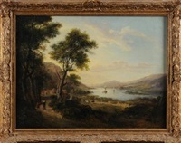 loch fyne, an extensive landscape, figures on a path in the foreground, view to a loch beyond by alexander nasmyth