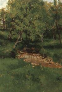 baumlandschaft mit kleinem tümpel by hermine von janda