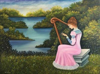 harpist in the landscape by meir pichhadze