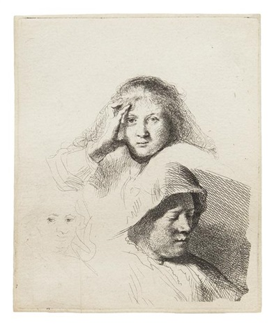 three heads of women by rembrandt van rijn