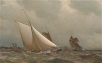 a new york yacht club cutter racing off a coast by archibald cary smith