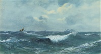 a heavy swell out at sea with a liner on the horizon by george bate