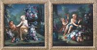 composizione di fiori e putti entro paesaggio (+ another; pair) by michele antonio rapous