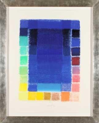 ohne titel blau mit farbfeldern by heinz mack