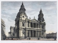 st. paul's cathedral; north west view of st. paul's by thomas malton the younger