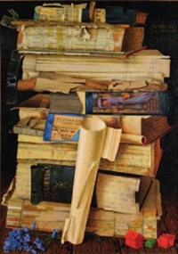still life of a stack of books, monopoly by james mcdonald