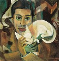 portrait mit katze by hanna bekker vom rath