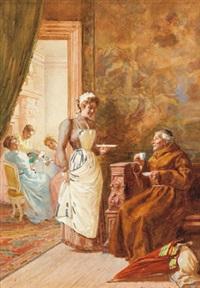 interieur mit dienstmädchen und einem bettelmönch auf wanderschaft by virgilio colombo