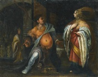 a biblical subject, probably esther standing before haman, behind them king ahasuerus by francesco (cecco bravo) montelatici