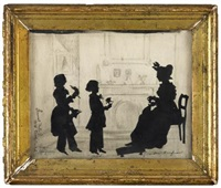 silhouette of kaufman family members, charleston, sc. dated by samuel metford