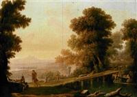 paesaggio con apollo tra i pastori (+ paesaggio con narciso alla fonte; 2 works) by giovanni campovecchio