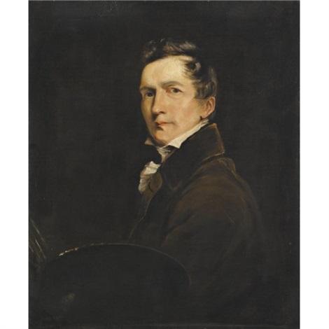 self portrait holding a palette by john jackson