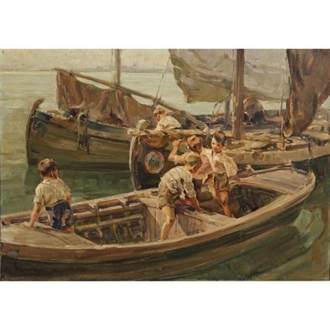 barche e ragazzi chioggia by angelo brombo