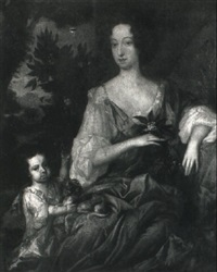 portrait of a lady with her son by herman verelst