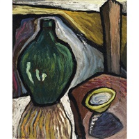 still life with green vase by isabelle chestnut reid