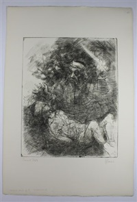 group of 10 etchings (various sizes) by jack levine