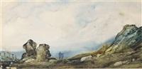 deux personnages sur la plage à marée basse, les falaises sur la gauche (+ 2 others; 3 works) by gabriel hippolyte le bas