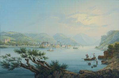 vue de la ville de boppart vers le houndsrüken by johann ludwig louis bleuler