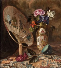 still life with fan and flowers by nicholas alden brooks
