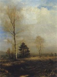 weite landschaft mit birken by august fischinger