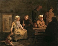a mother restraining her child whilst talking to a friar  seated at a table where four peasants drink by leonard de france