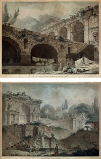 villa sacchetti (+ villa madama; pair)(after hubert robert) by jean françois janinet