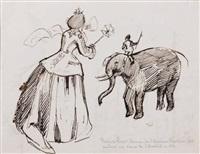 femme à l'ombrelle vue de dos et éléphant dont le cornak est un enfant by prosper mérimée
