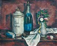 nature morte à la pipe, au vase fleuri et à la bouteille by eugene louis corneau