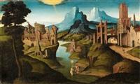 eine flusslandschaft mit antiken gebäuden und der taufe christi by jan van scorel