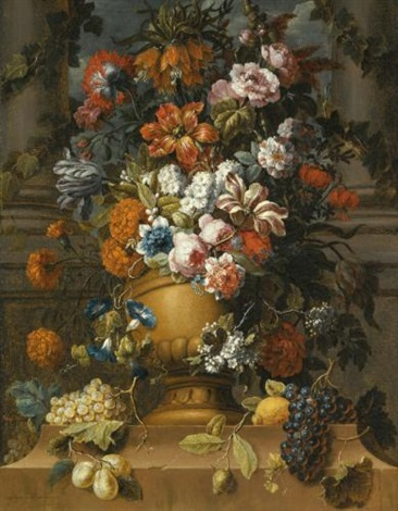 flowers in an urn with fruit on a pedestal by gaspar pieter verbruggen the younger