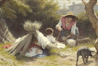 farm chores by alfred van (jacques) muyden