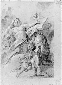 a kneeling saint and a prophet pointing to the bible by vito d' anna