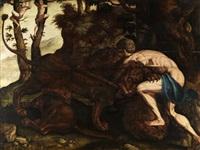 herkules im kampf mit dem nemeischen löwen by maerten jacobsz van heemskerck