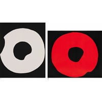 1.black and white 2.red and black (2 works) by jiro yoshihara