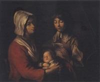 jeune femme et son enfant écoutant la lecture d'une lettre by le nain brothers