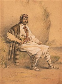 portrait of a greek soldier in typical costume of the greek war of independence, with dagger and pistol tucked in his waistband (+ 1 other; 2 works) by henry melling