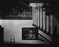 camera obscura image of the philadelphia museum of art entrance in gallery with a de chricio painting by abelardo morell