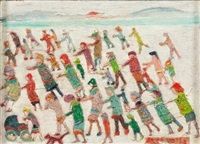 figures on a beach by fred yates