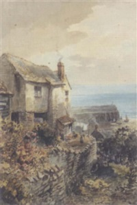 scene of clovelly, north devon by alfred leyman