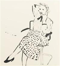 celia in a polka dot skirt by david hockney