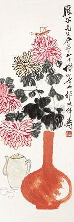 菊酒延年 by qi baishi