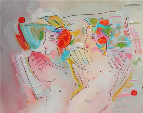 two female nudes by peter max