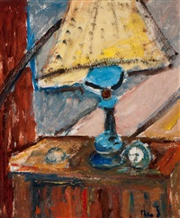 still life with lamp by theo swagemakers