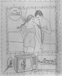 calendar style drawing of a man, woman, coca cola, tv, parrot and boat by patsy a. billups
