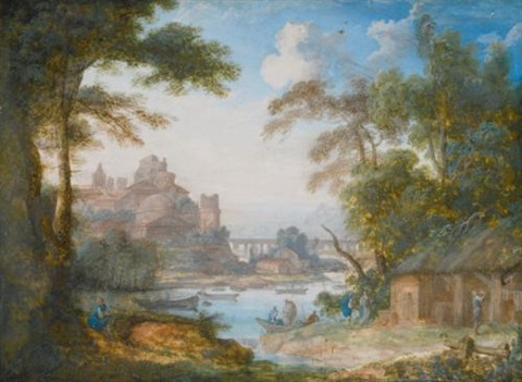 two river landscapes a with men by a shed b with ladies gathering flowers 2 works by pierre antoine patel